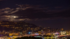 Superlune   Timelapse of the moon rising from the hills behind Cannes
